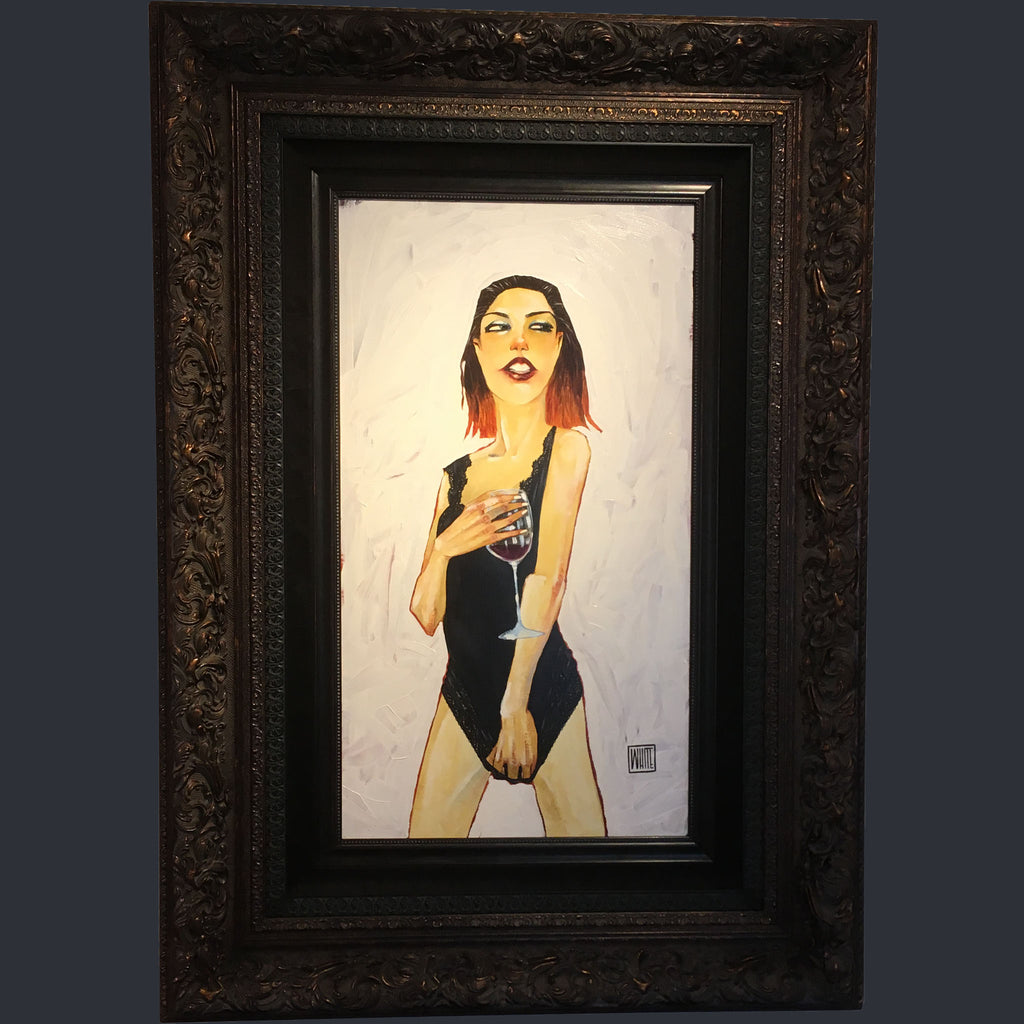 Todd White original print of a lady holding a wine glass wearing a leotard