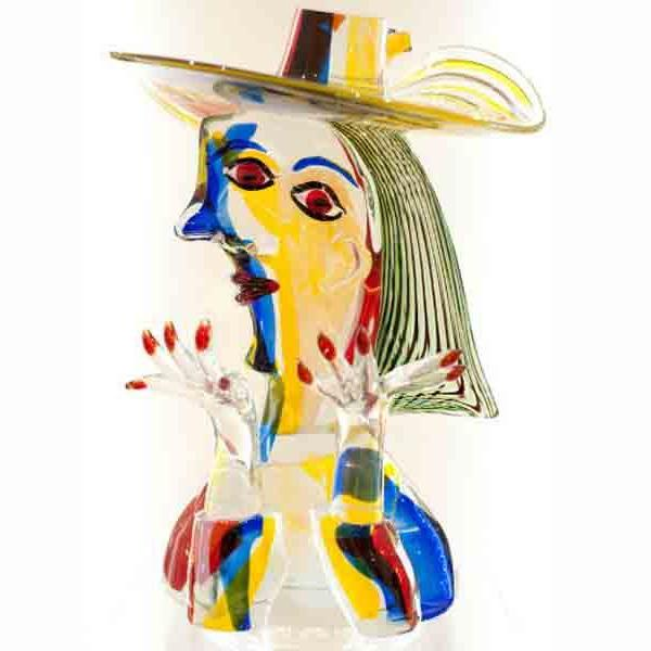 Glass sculpture of Picasso made from Murano glass
