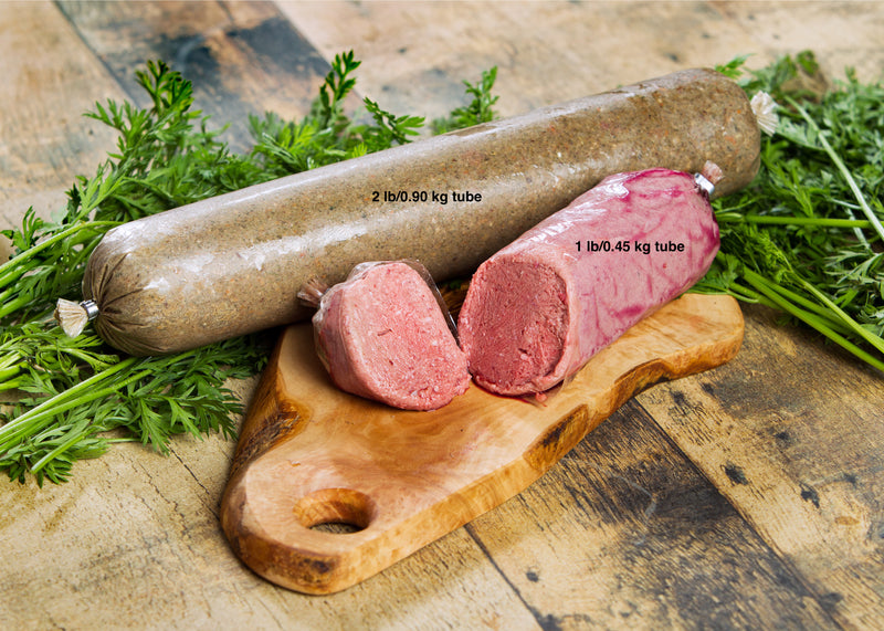 beef raw dog food shown in 1 lbs and 2 lbs tubes