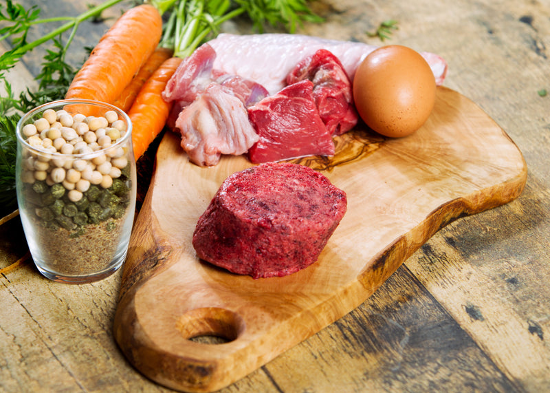 Turkey raw dog food on a cutting board with eggs and carrots