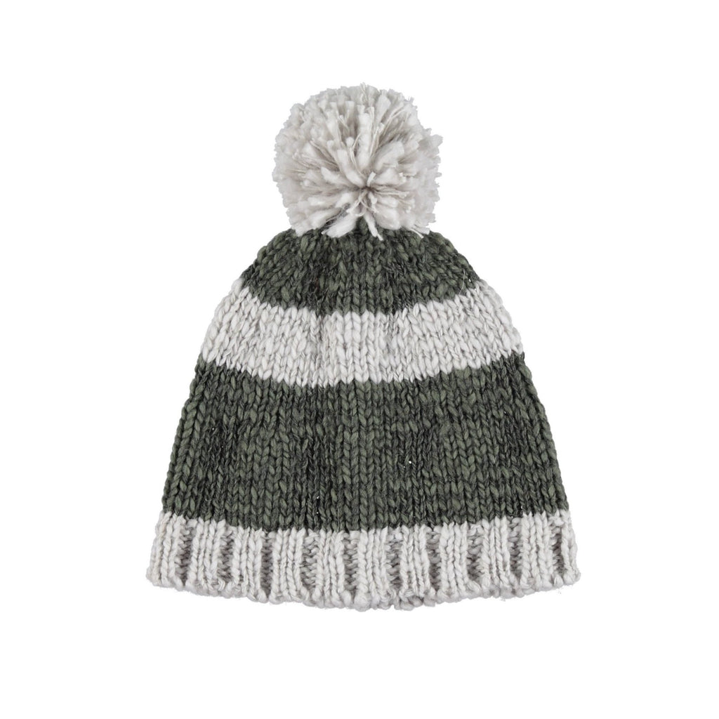 Piupiuchick | Knitted hat | khaki & ecru stripes