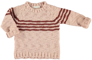 Piupiuchick | Knitted sweater | Pink & brick stripes