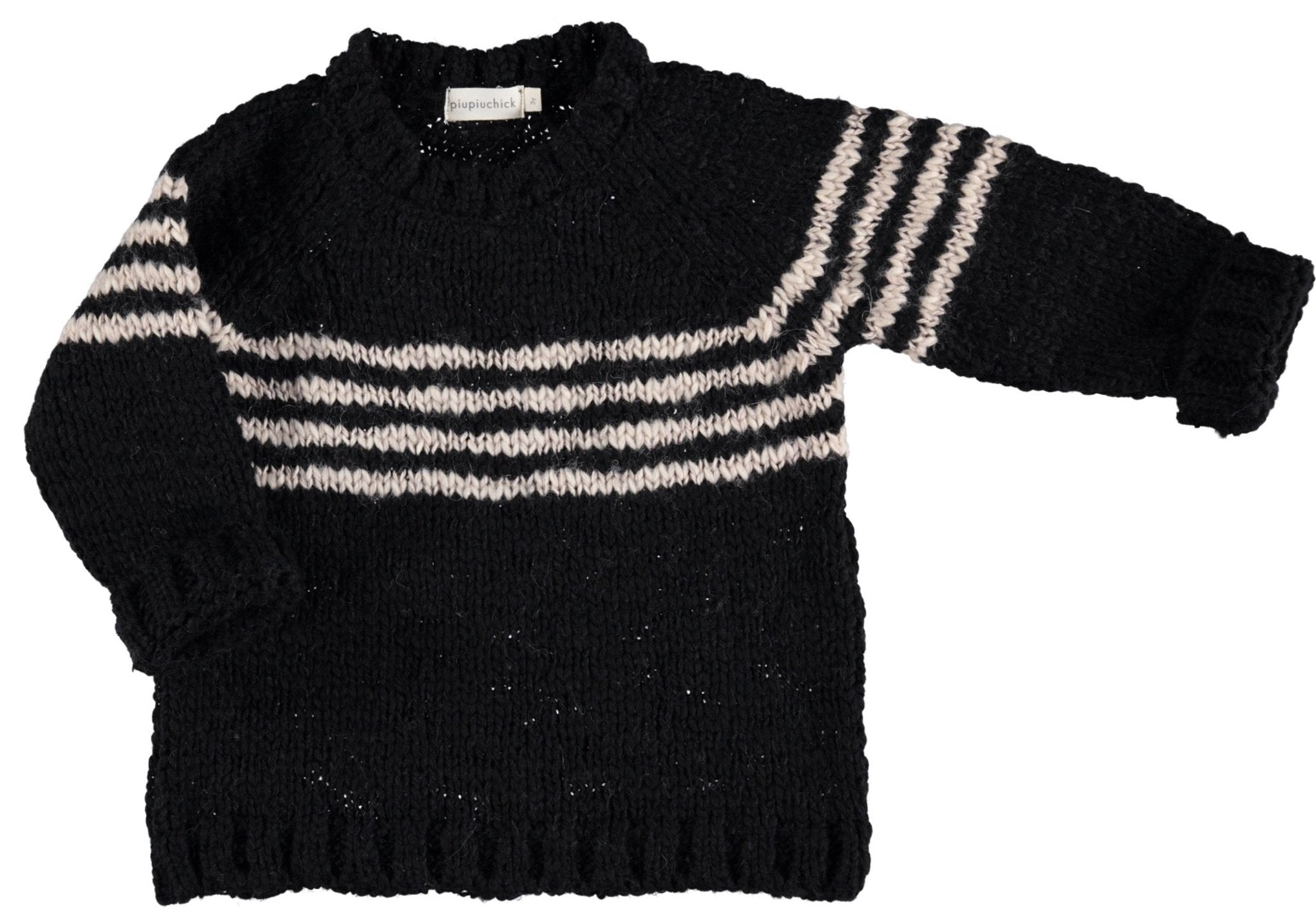 Piupiuchick | Knitted sweater | Black & ecru stripes.