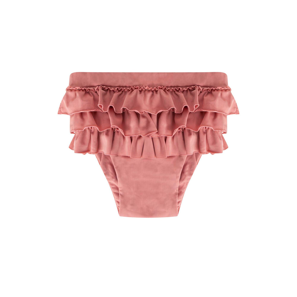 Maed for Mini | Funky flamingo ruffle swim shorts