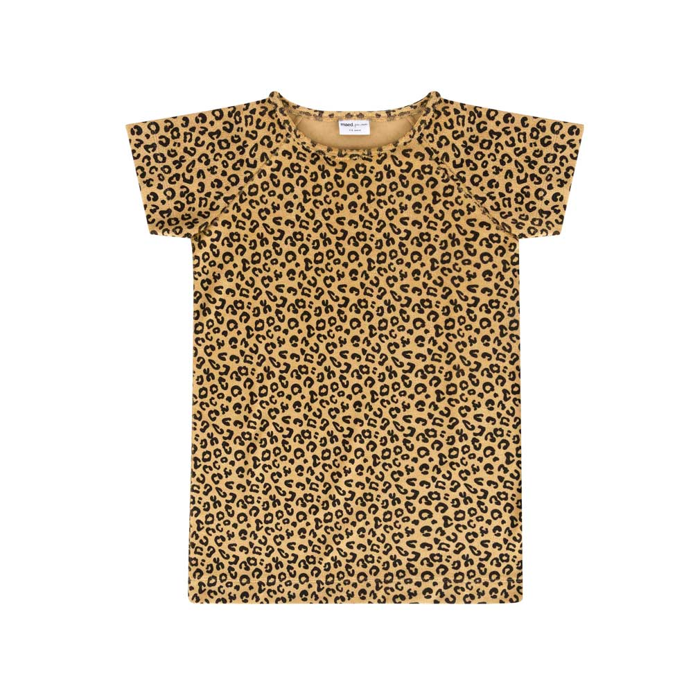 Maed for Mini | Yellow leopard dress short sleeve