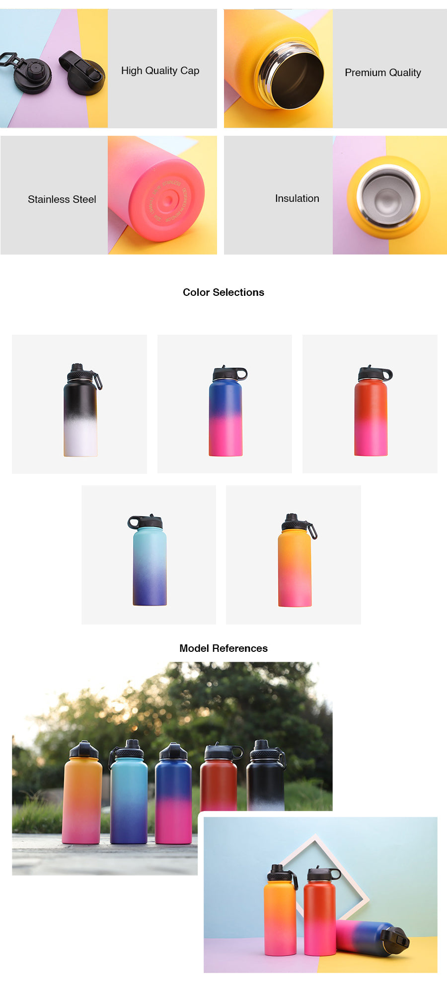 Gradient Colour Stainless Steel Water Bottle - 950ml