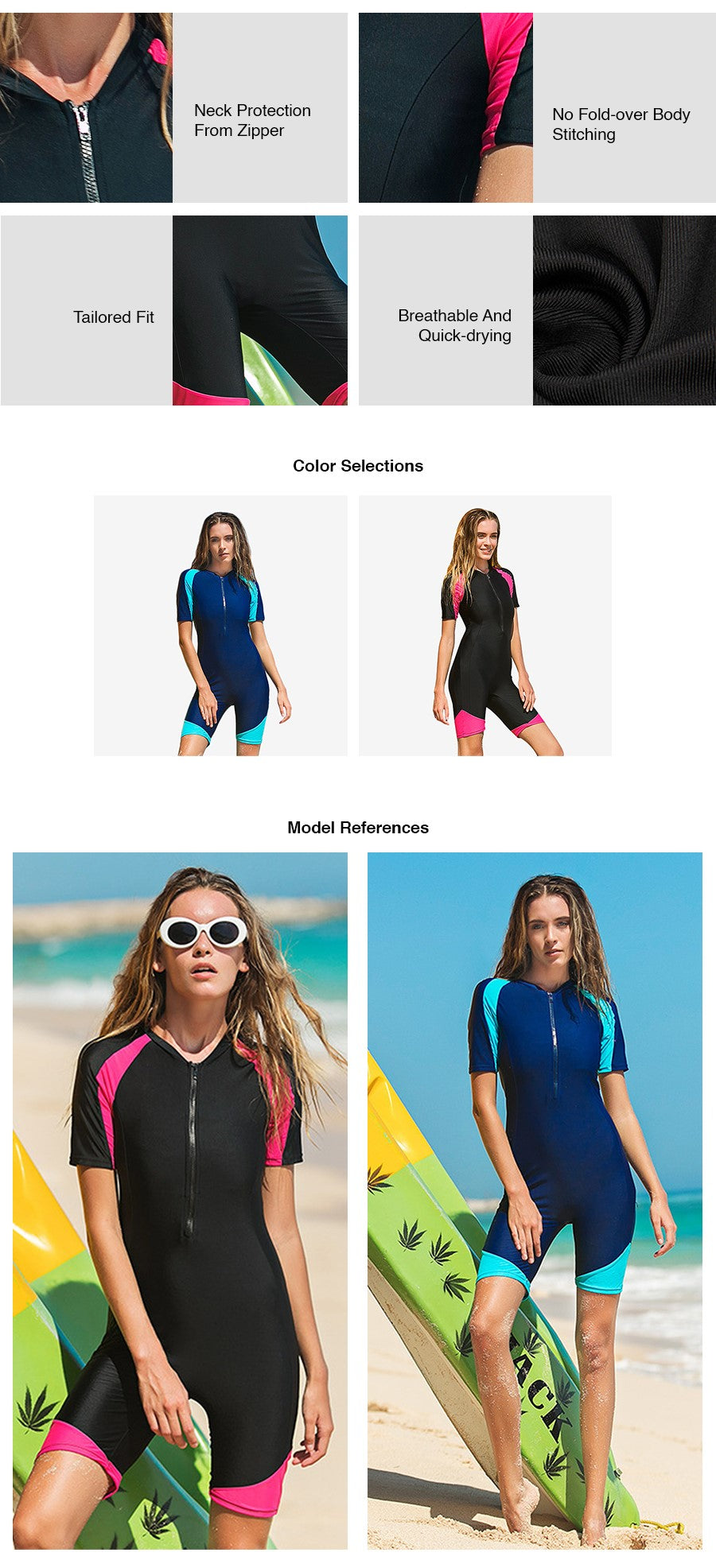 Infinity Two Tone Short Sleeves Swimsuit