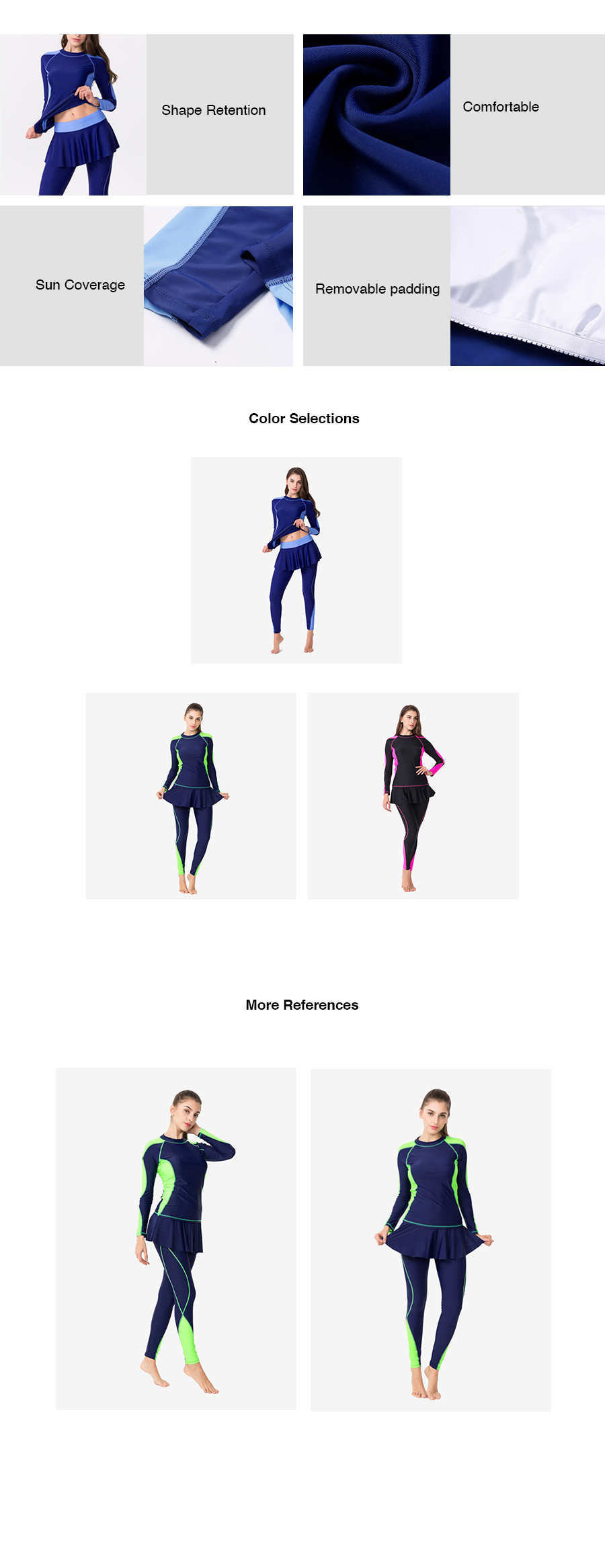 Plus Size Two Piece Long Sleeves Wet Suit