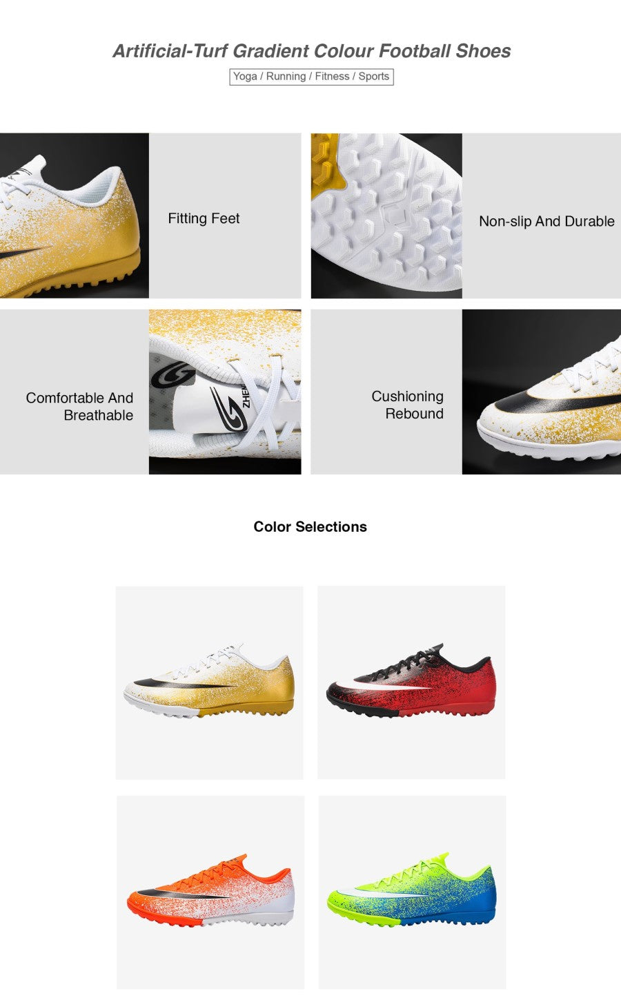 Artificial-Turf Gradient Colour Football Shoes