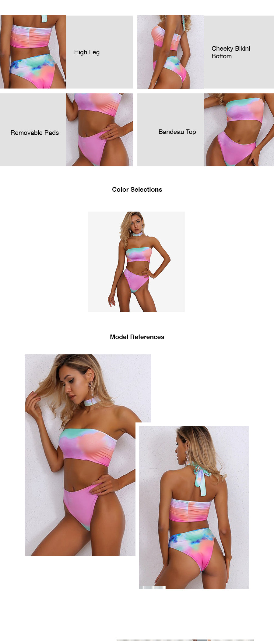 Tie-Dye Printed Two Piece Swimsuit