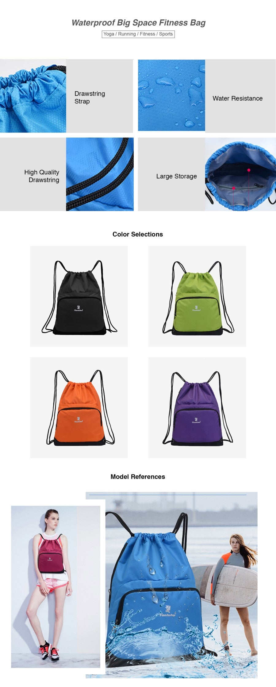 Waterproof Big Space Fitness Bag
