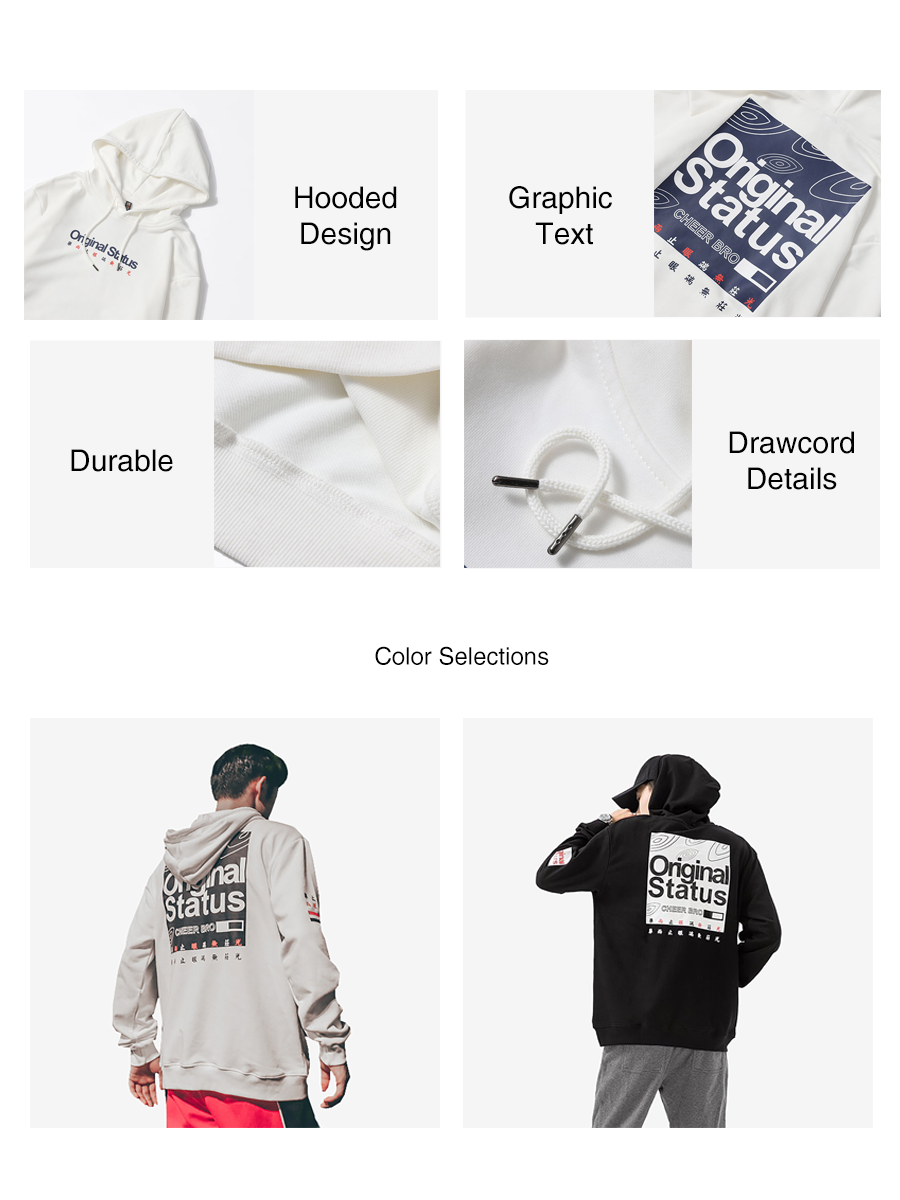 Graphic Text Pullover Hoodies