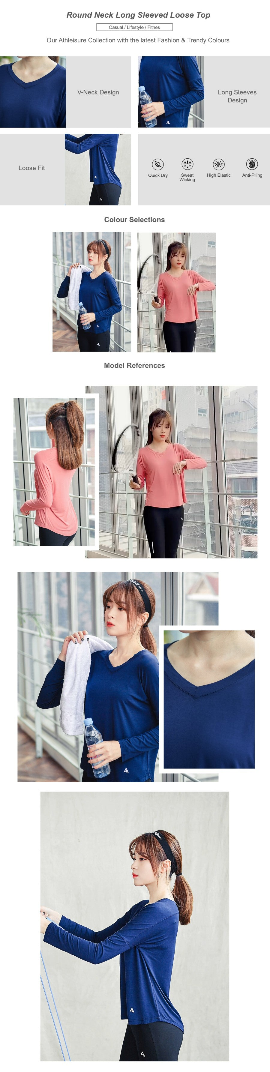 Round Neck Long Sleeved Loose Top