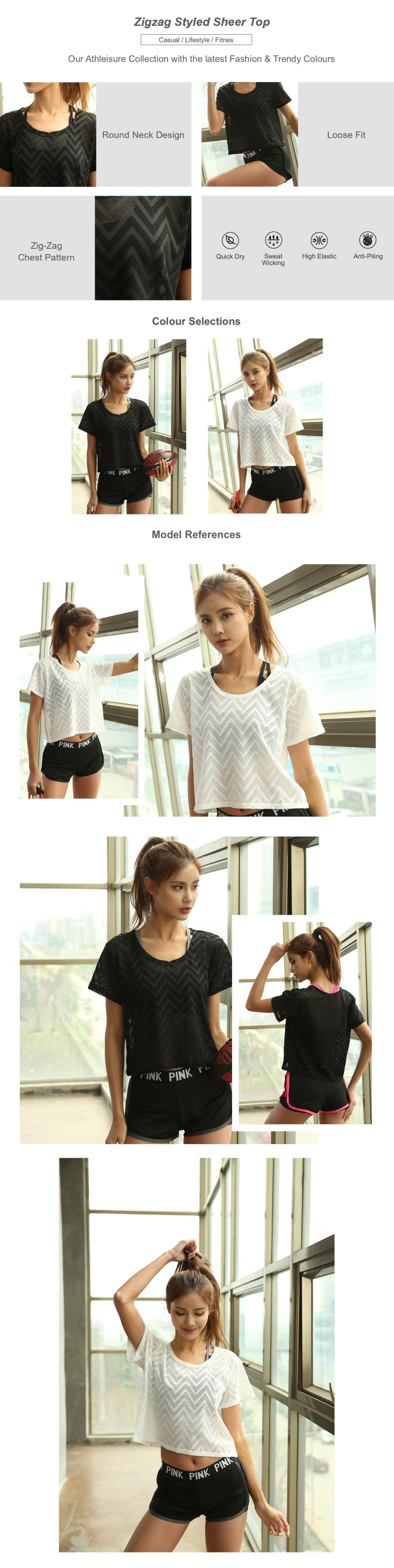 Zigzag Styled Sheer Top