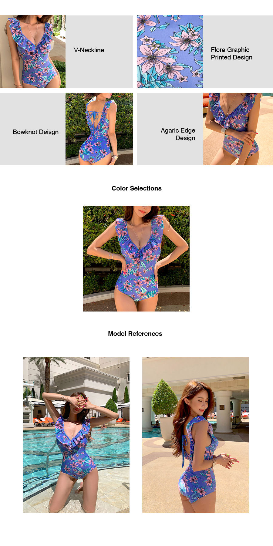 Floral Ruffles One Piece Swimsuit