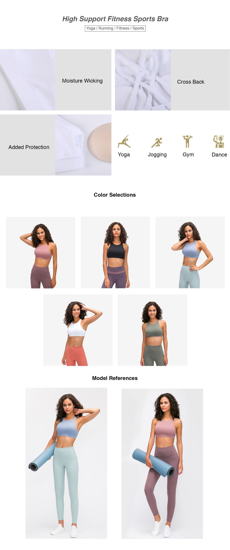 High Support Fitness Sports Bra