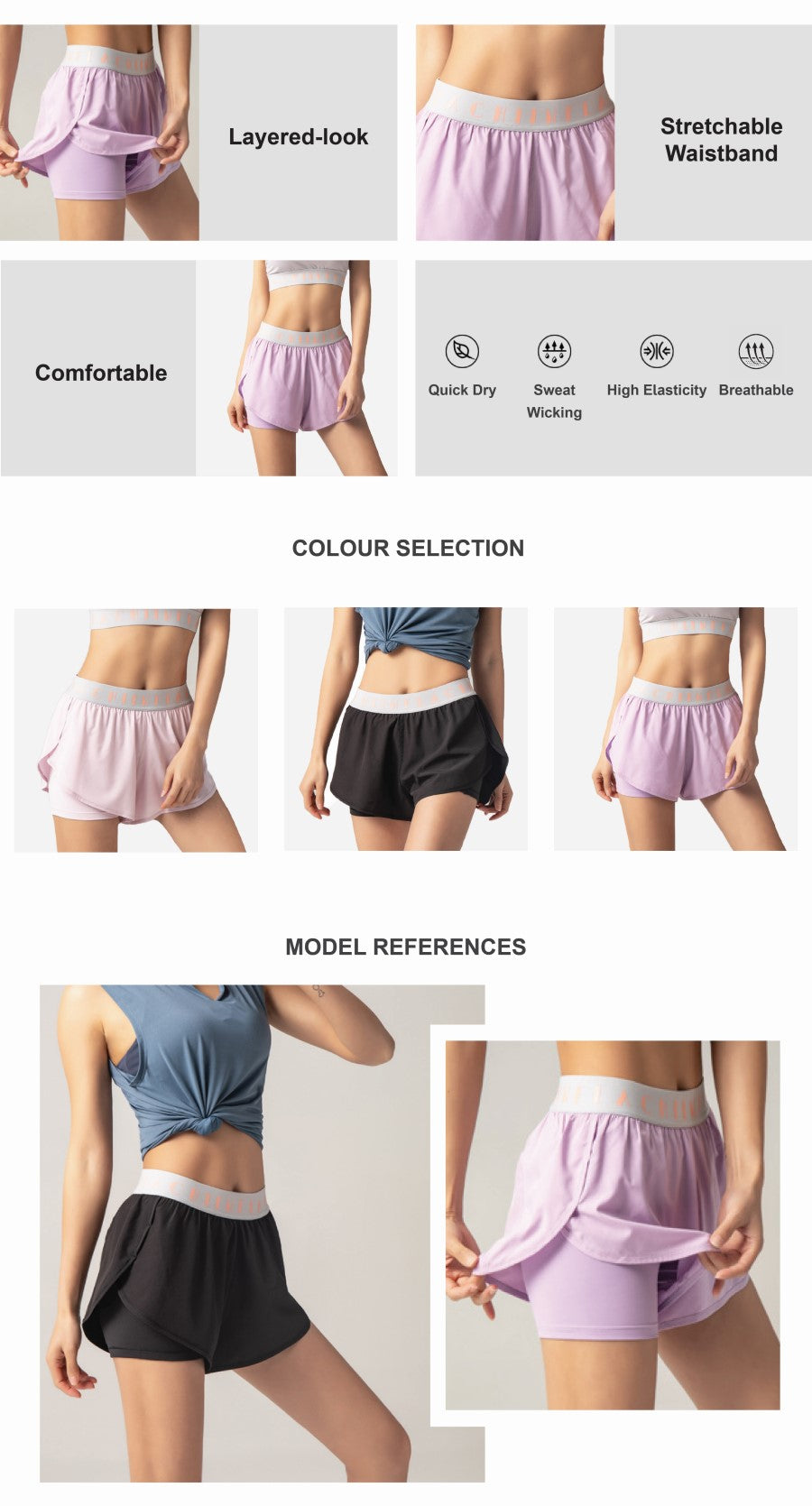 Inflachi 2 in 1 Running Shorts