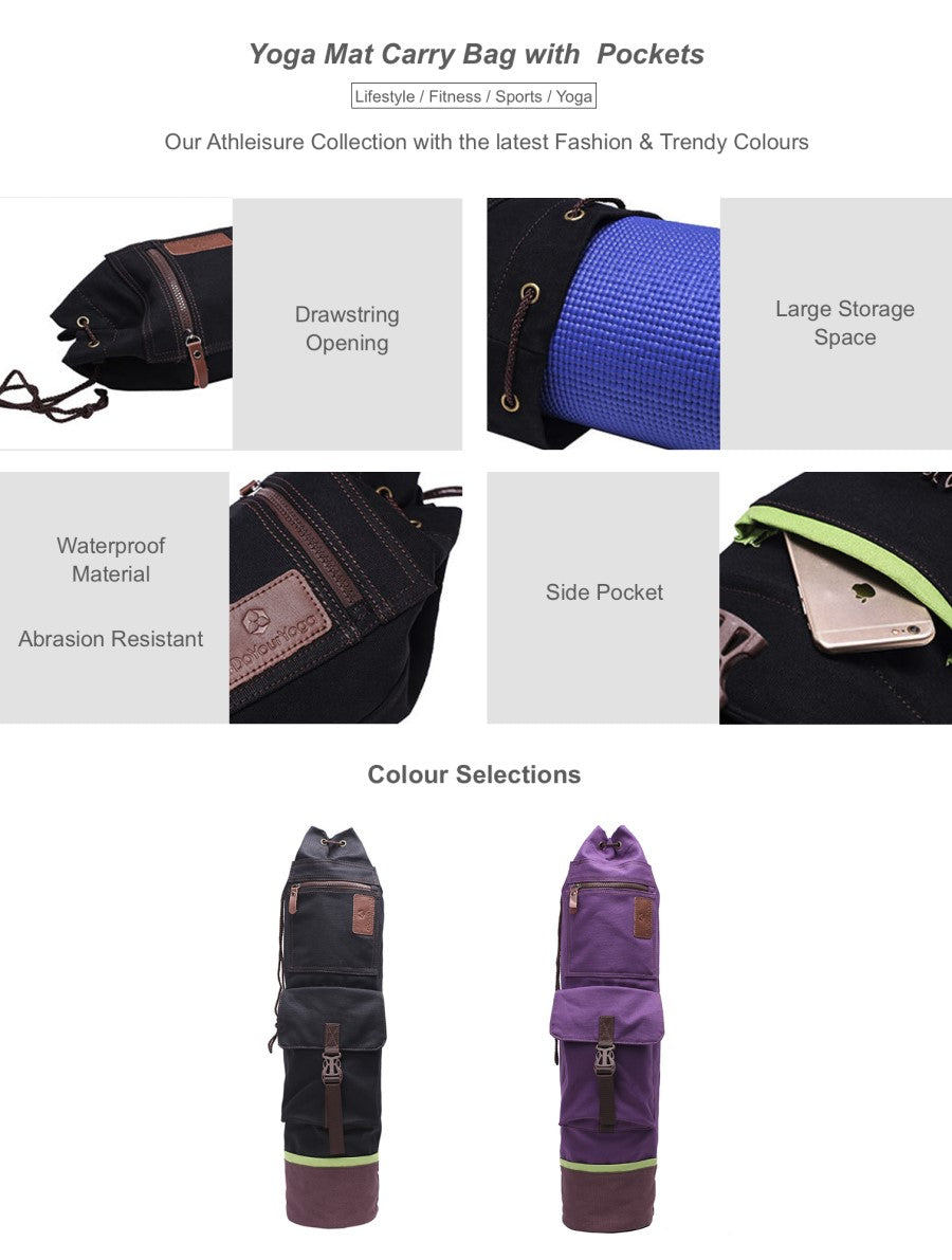 Yoga Mat Carry Bag with  Pockets