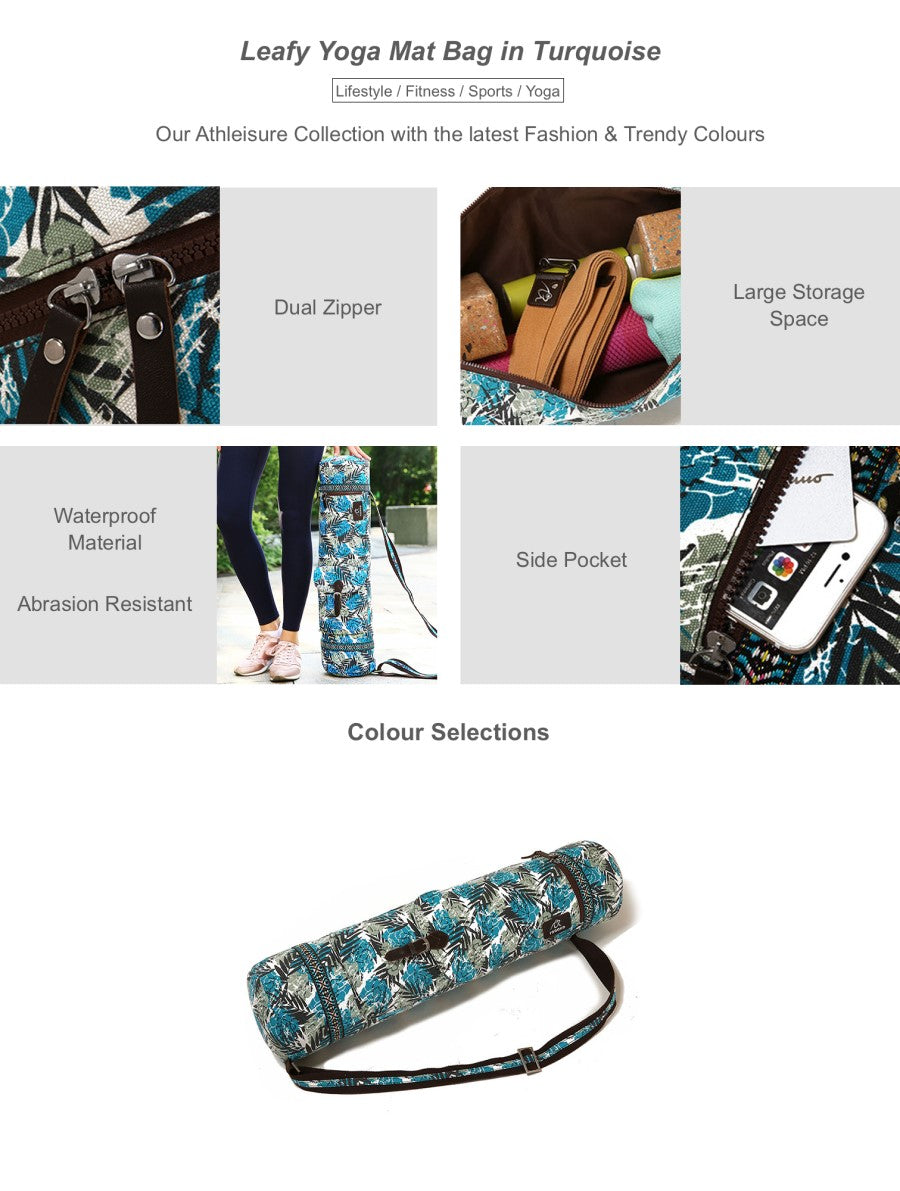 Leafy Yoga Mat Bag in Turquoise