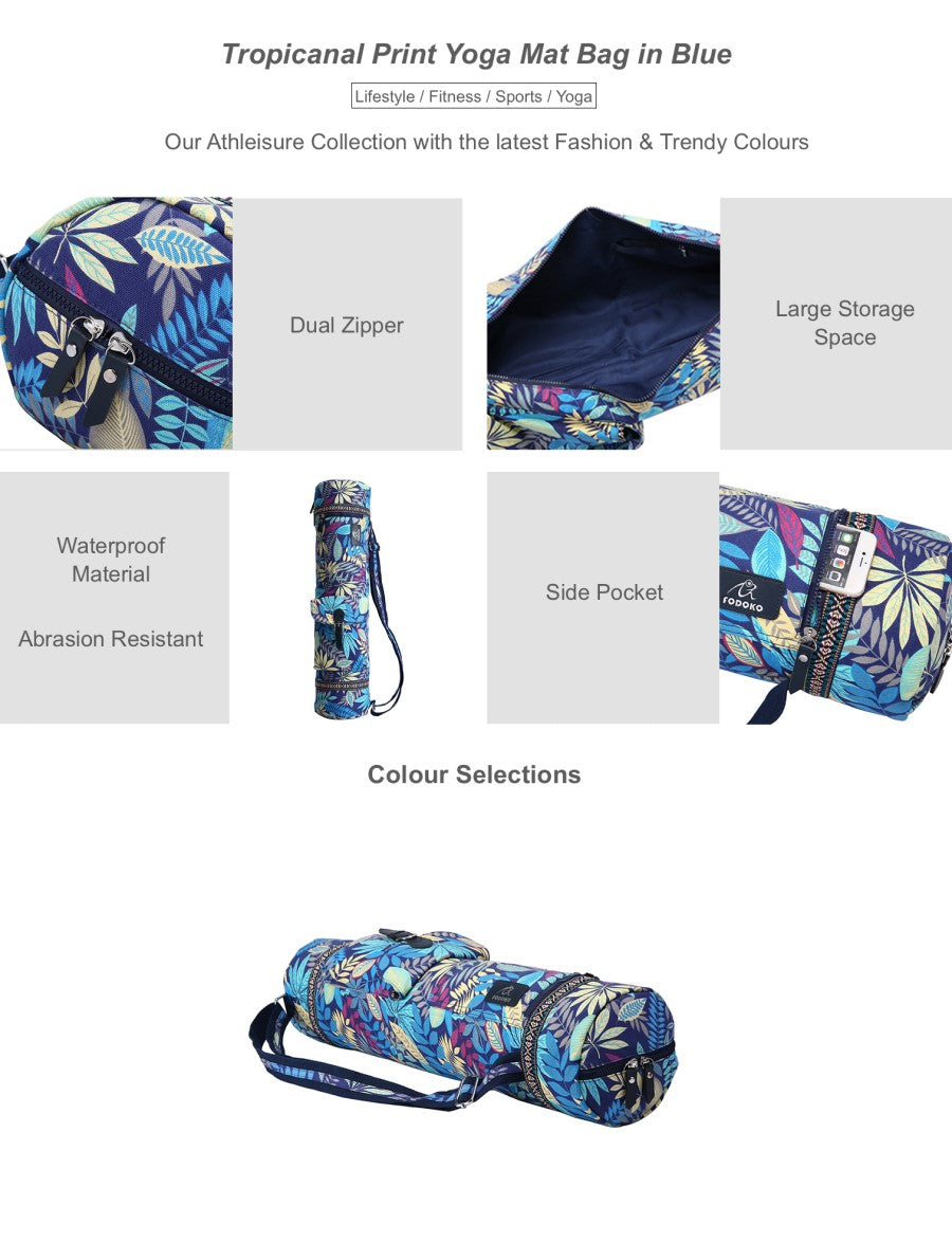 Tropicanal Print Yoga Mat Bag in Blue