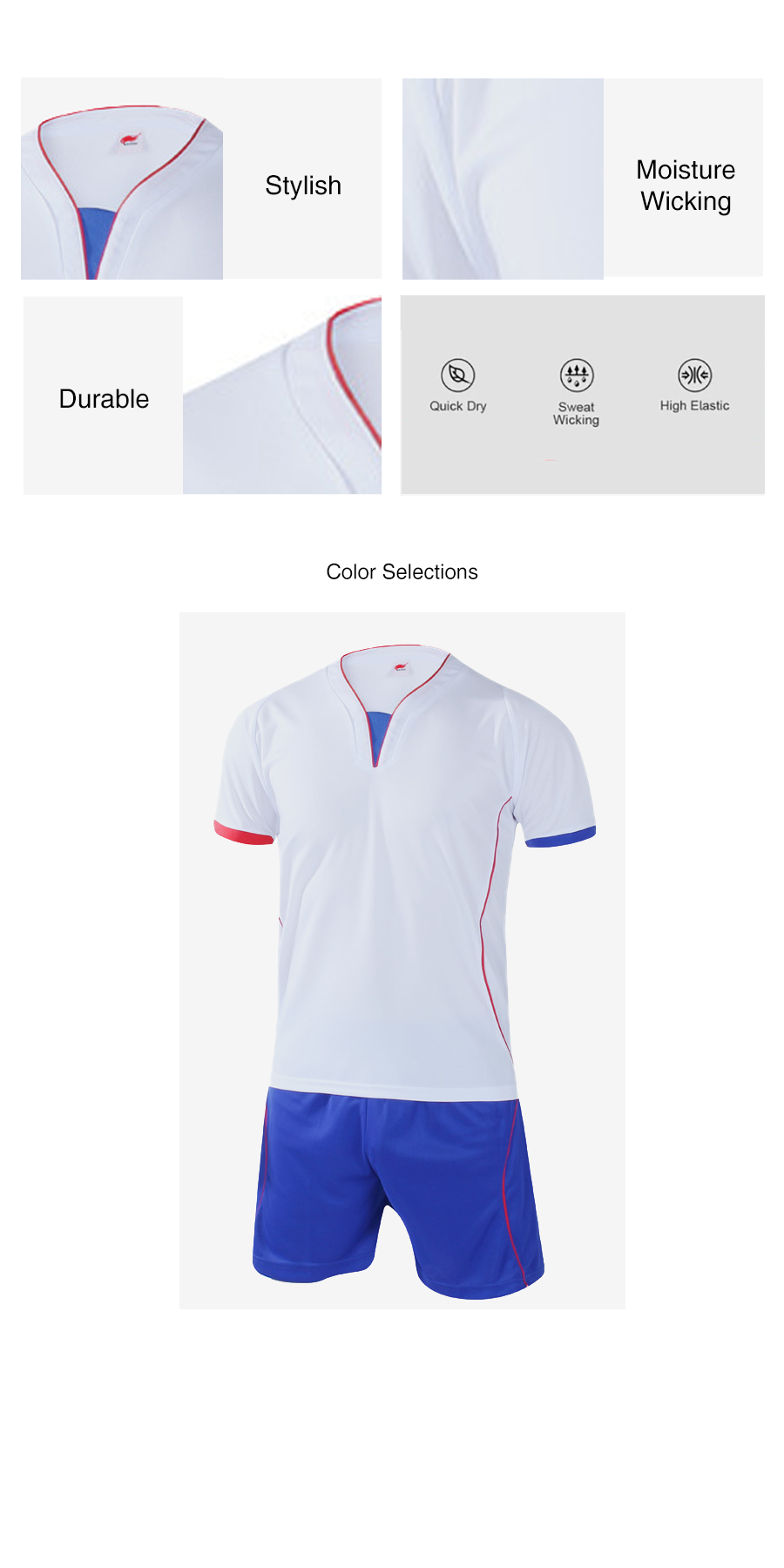 Football Training Two Piece Set In White and Blue