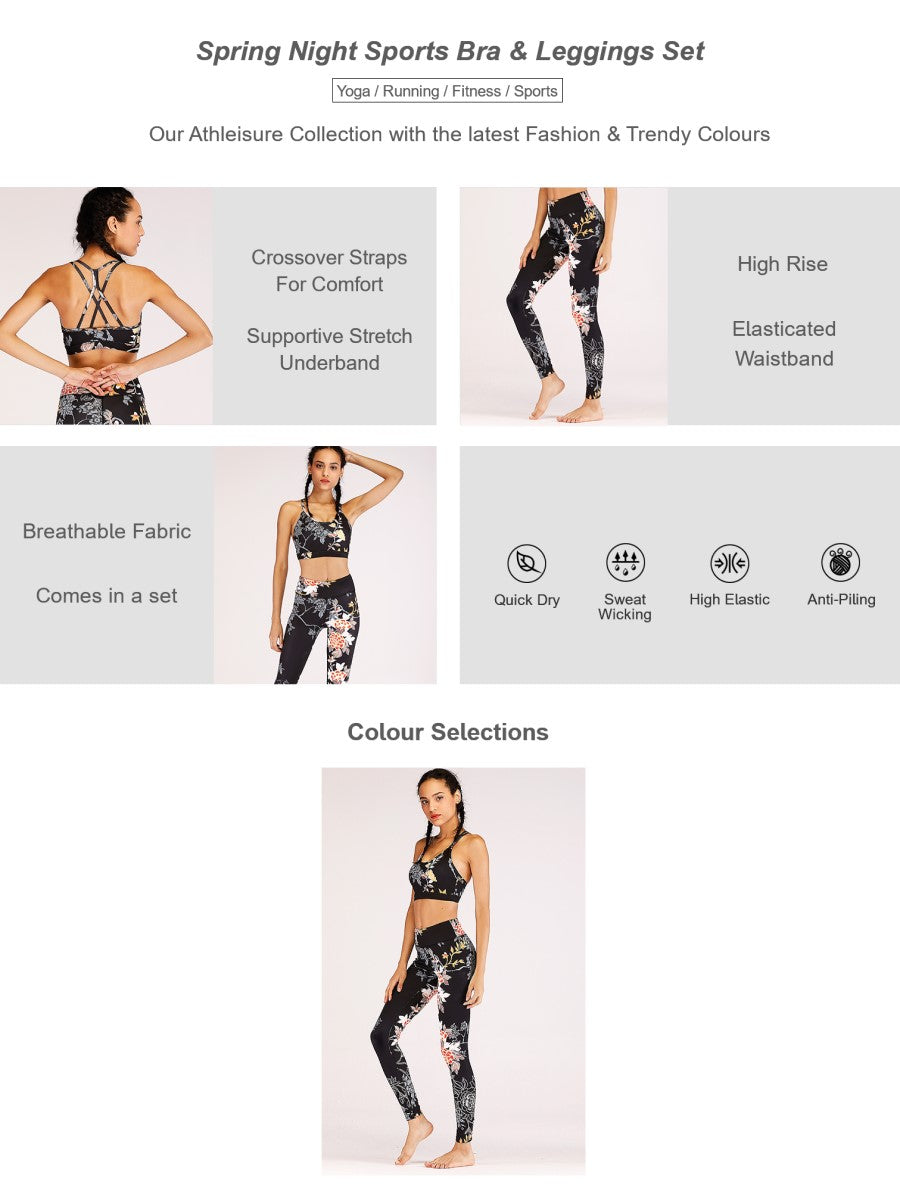 Spring Night Sports Bra & Leggings Set