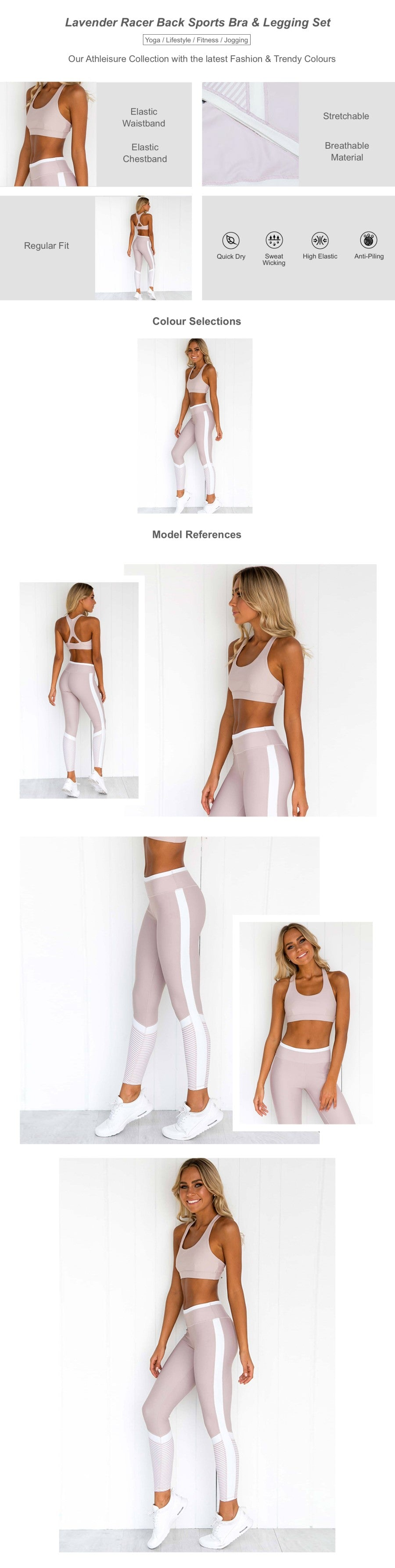 Lavender Racer Back Sports Bra & Legging Set