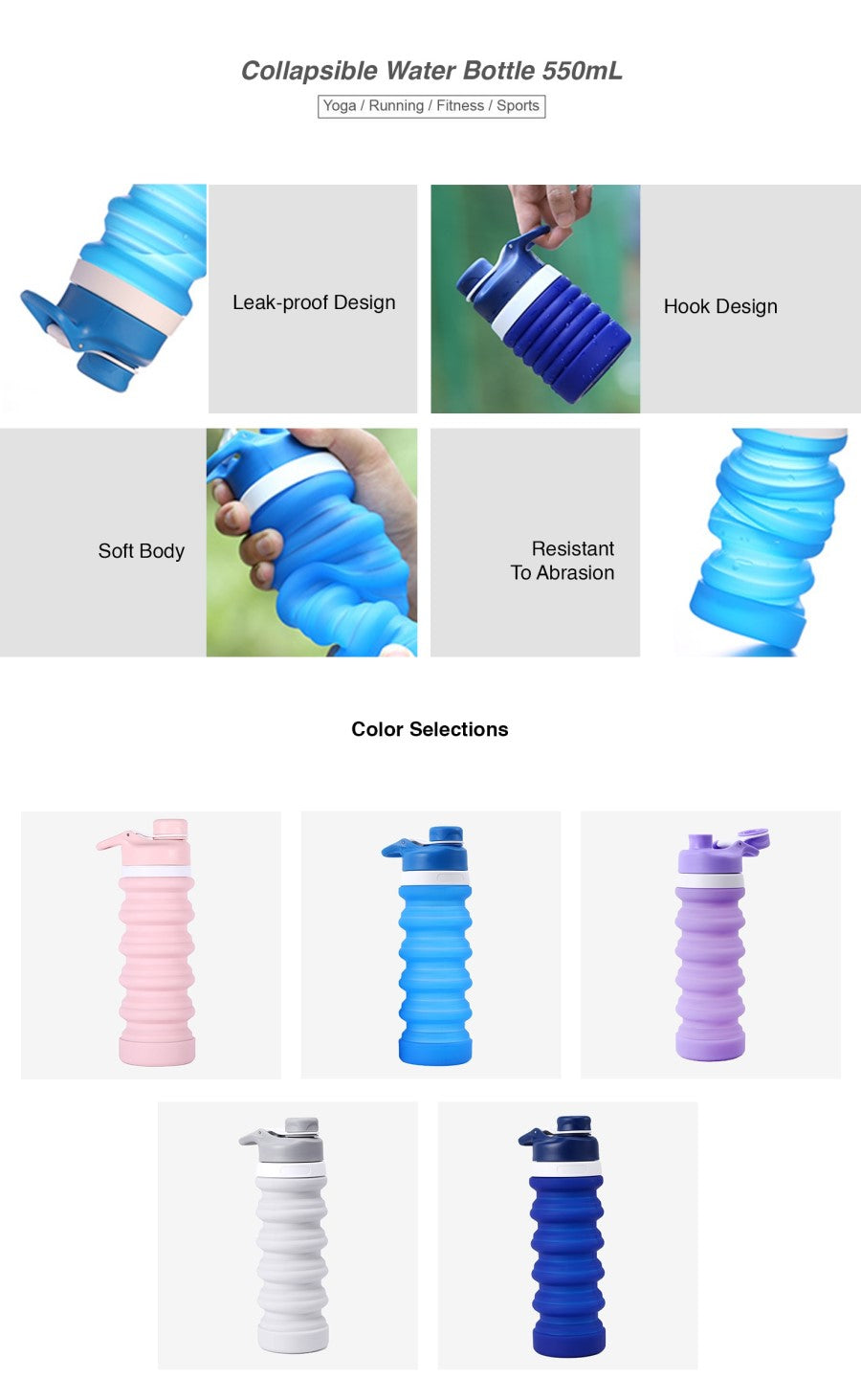 Collapsible Water Bottle 550mL