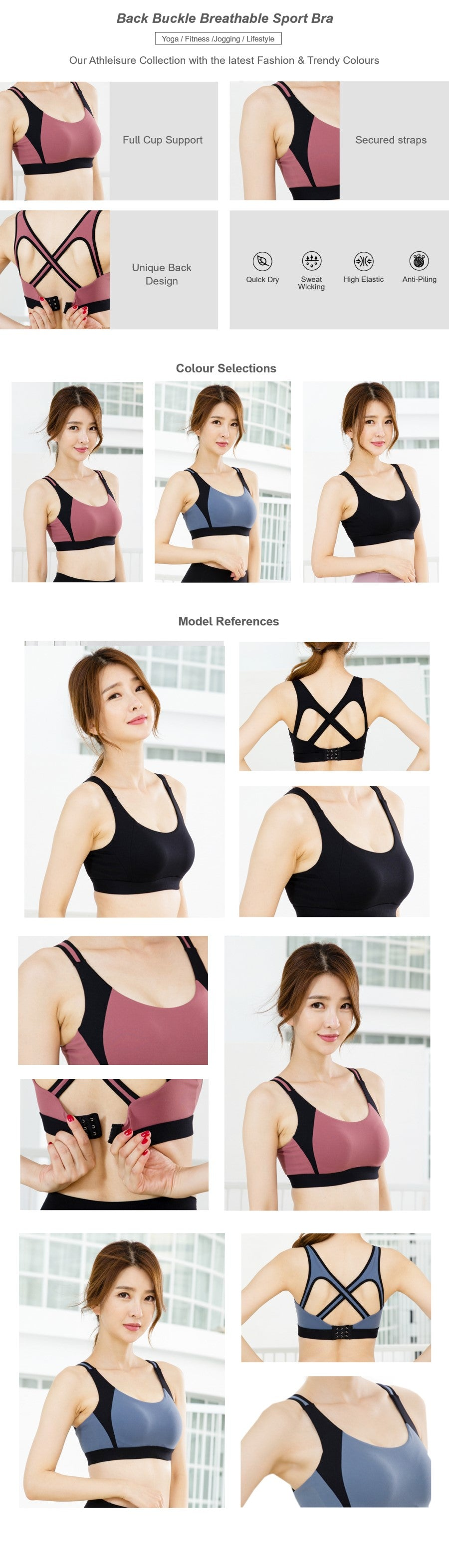 Cross Back Breathable Sport Bra