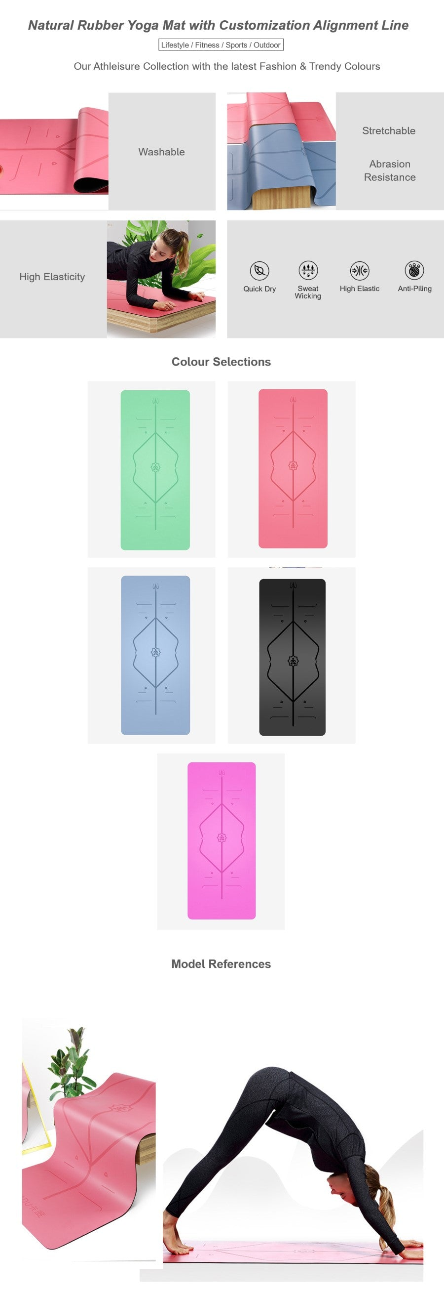 Natural Rubber Yoga Mat with Customization Alignment Line