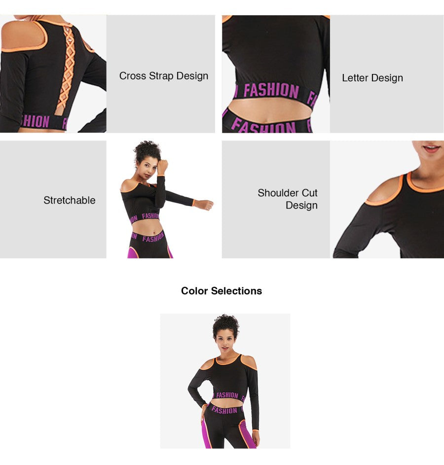Cut In Round Neck Long Sleeve Crop Top