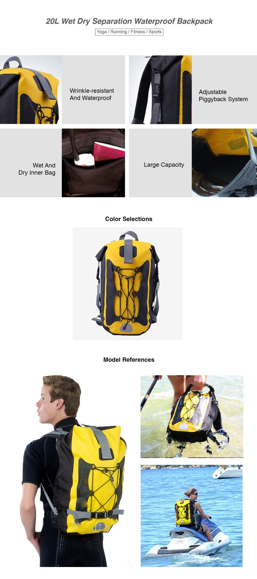 20L Wet Dry Separation Waterproof Backpack