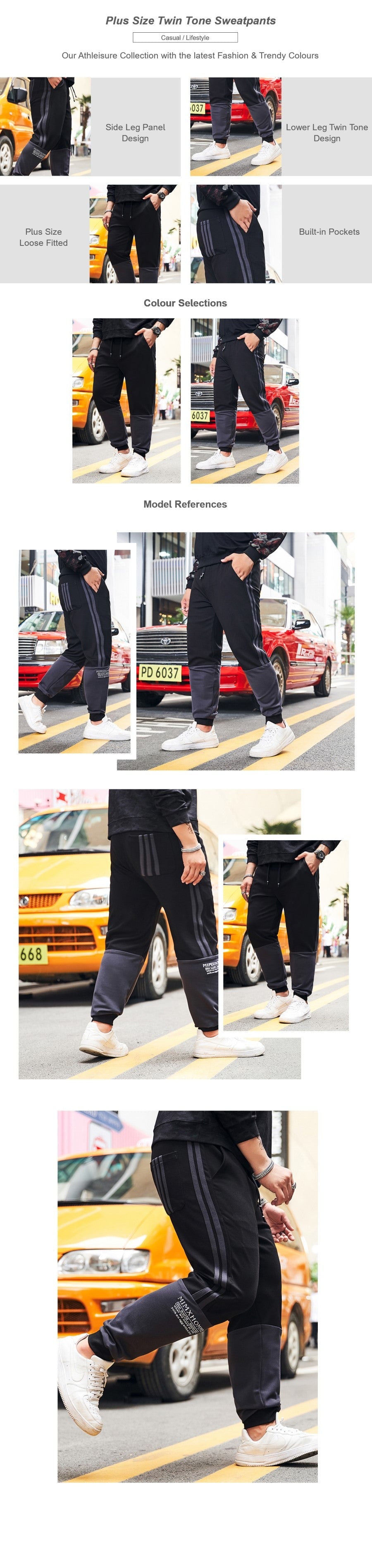 Plus Size Twin Tone Sweatpants