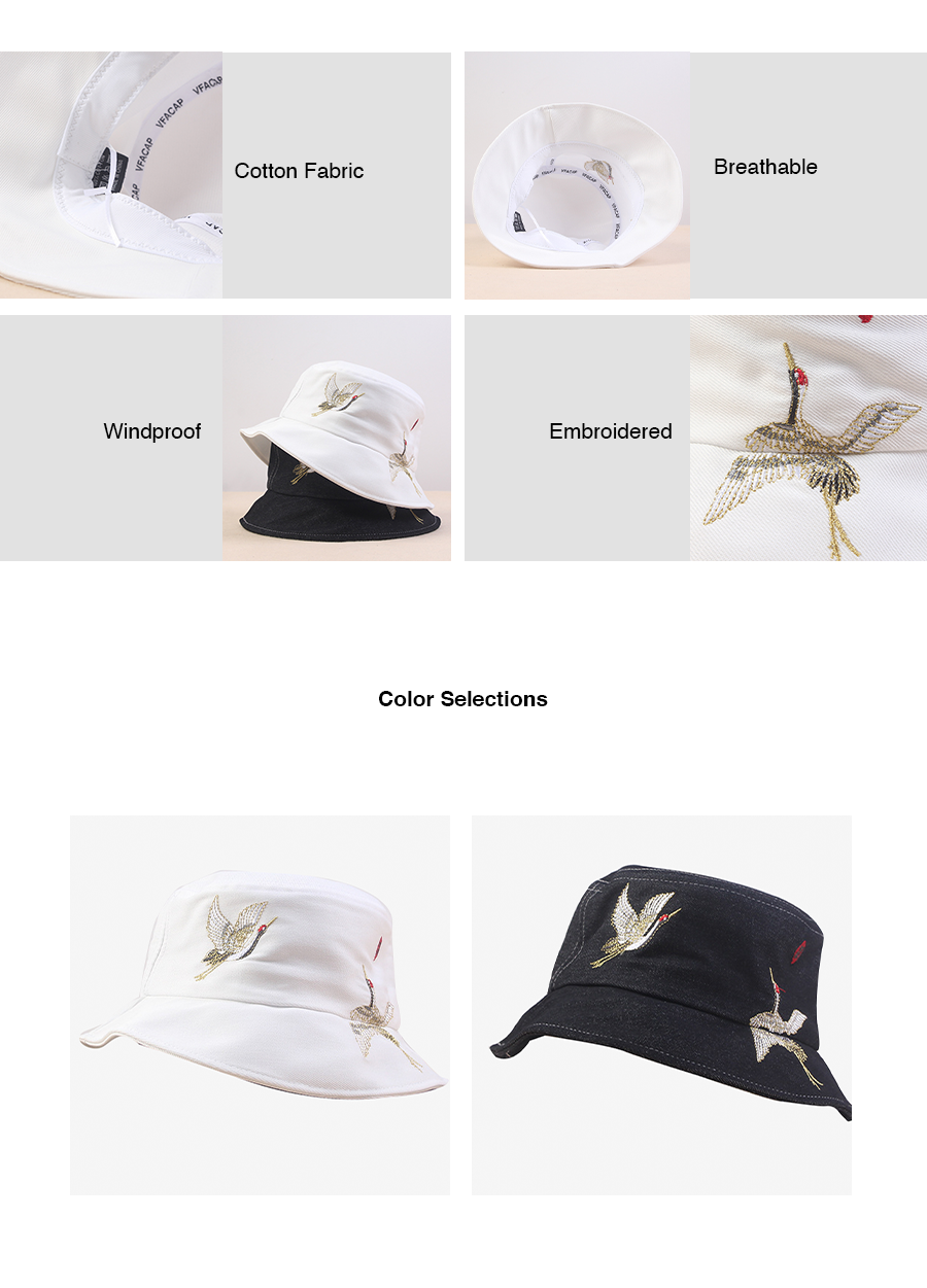 Crane Embroidery Buckle Hat