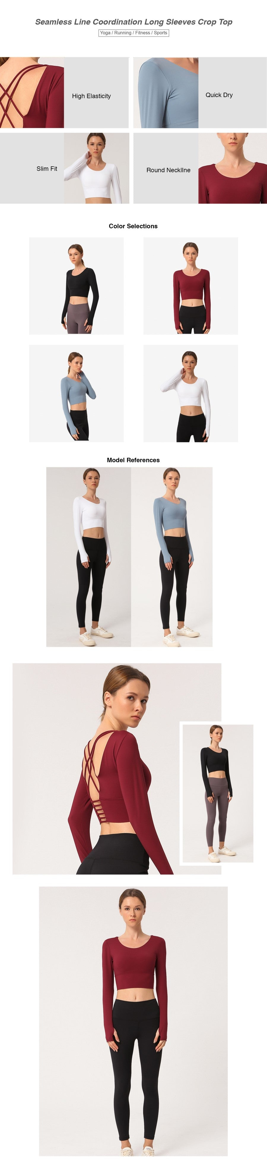 Seamless Line Coordination Long Sleeves Crop Top