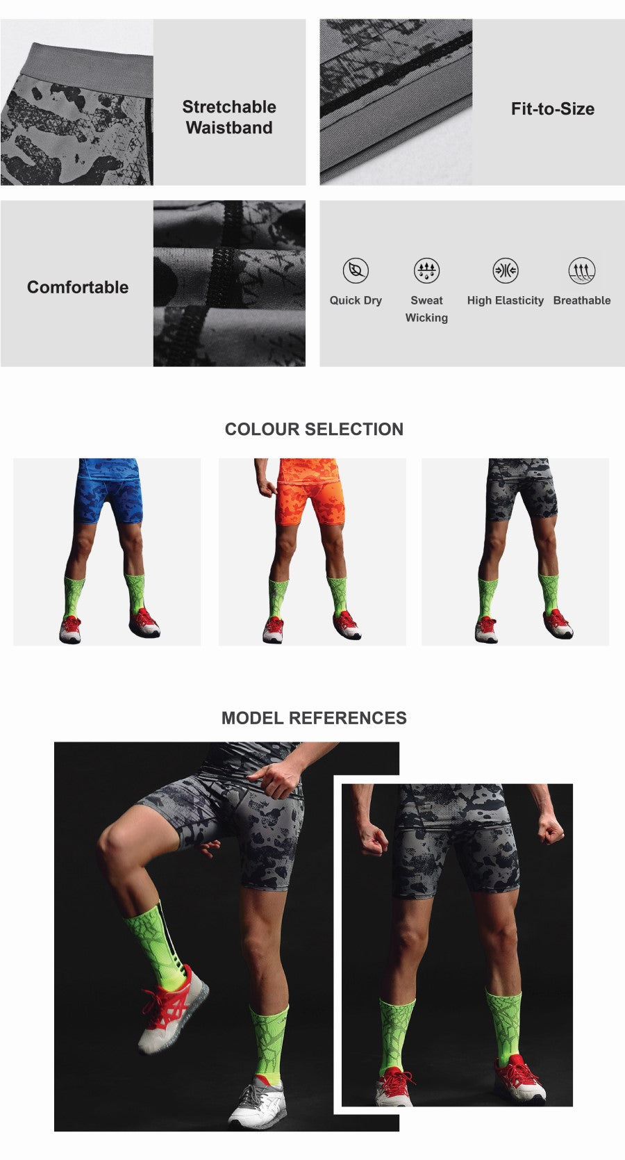 Camouflage Print Compression Shorts