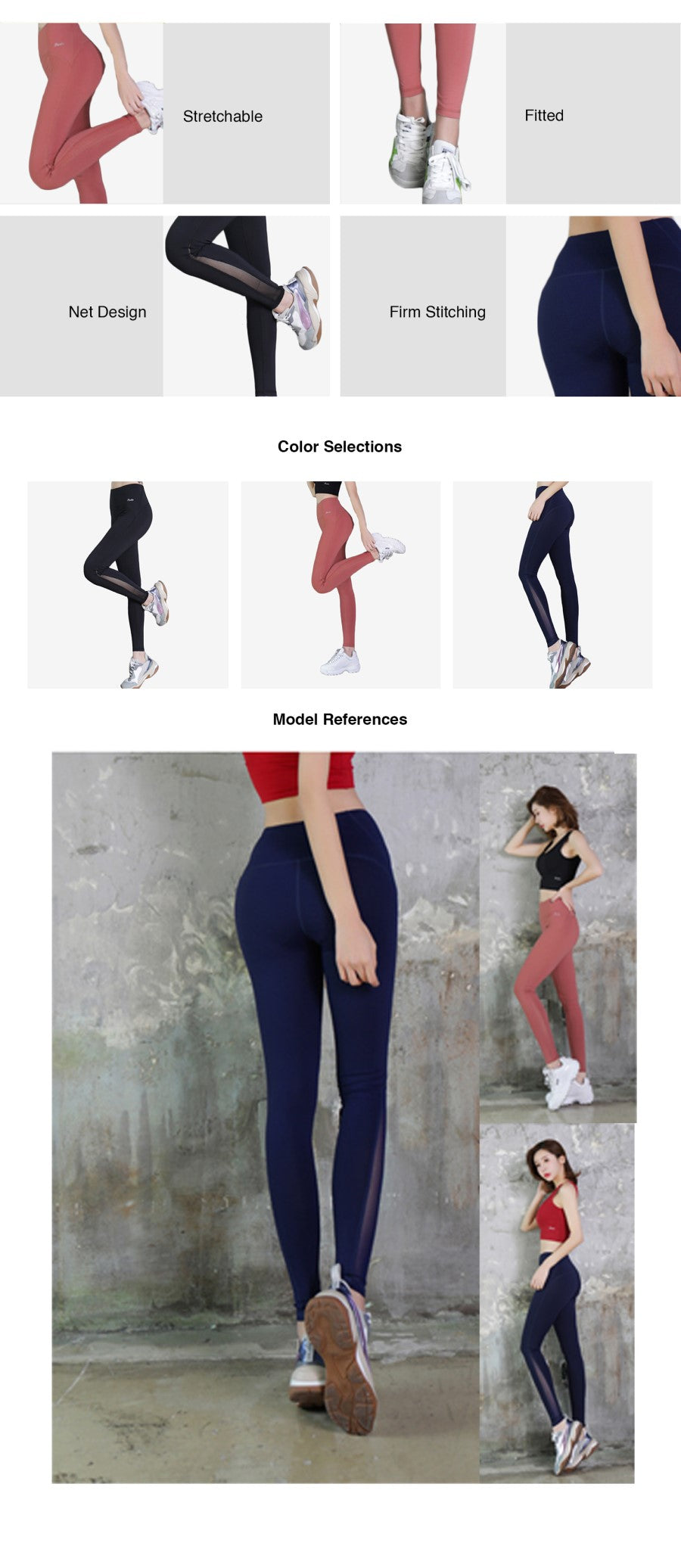 Middle Waist Mesh Legging