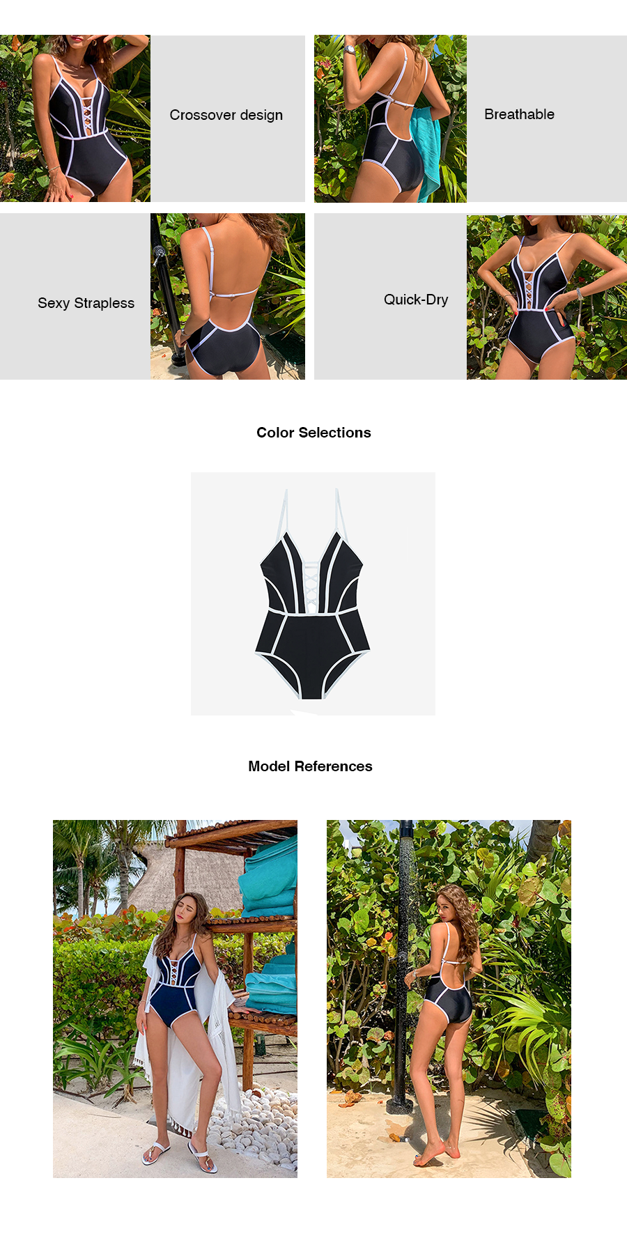 Lace Up Cleavage Swimsuit
