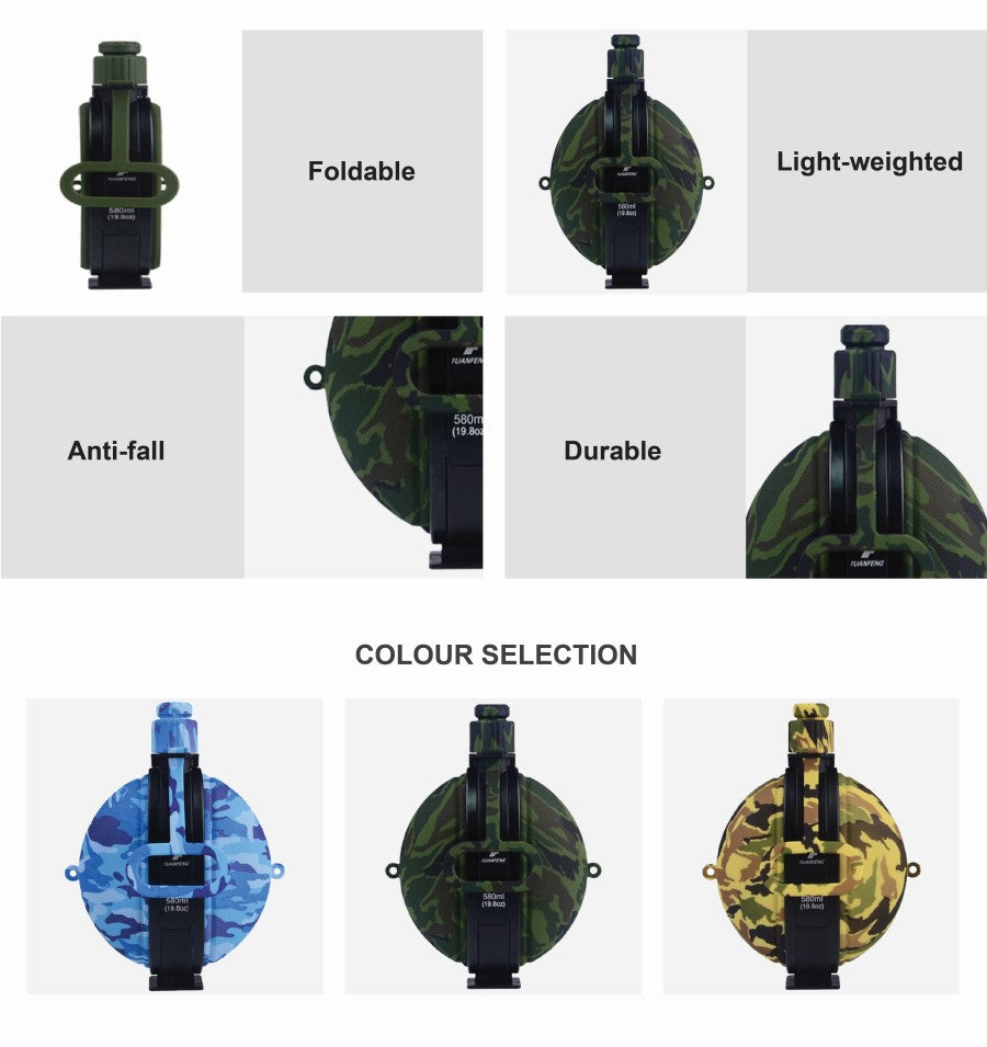 Camo Collapsible Water Bottle Silicone 580ml
