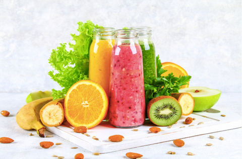 A variety of healthy and delicious fruits smoothies