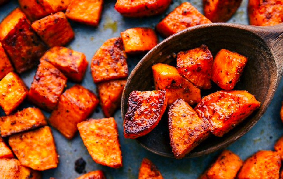 Baked sweet potato chunks to fuel your long run