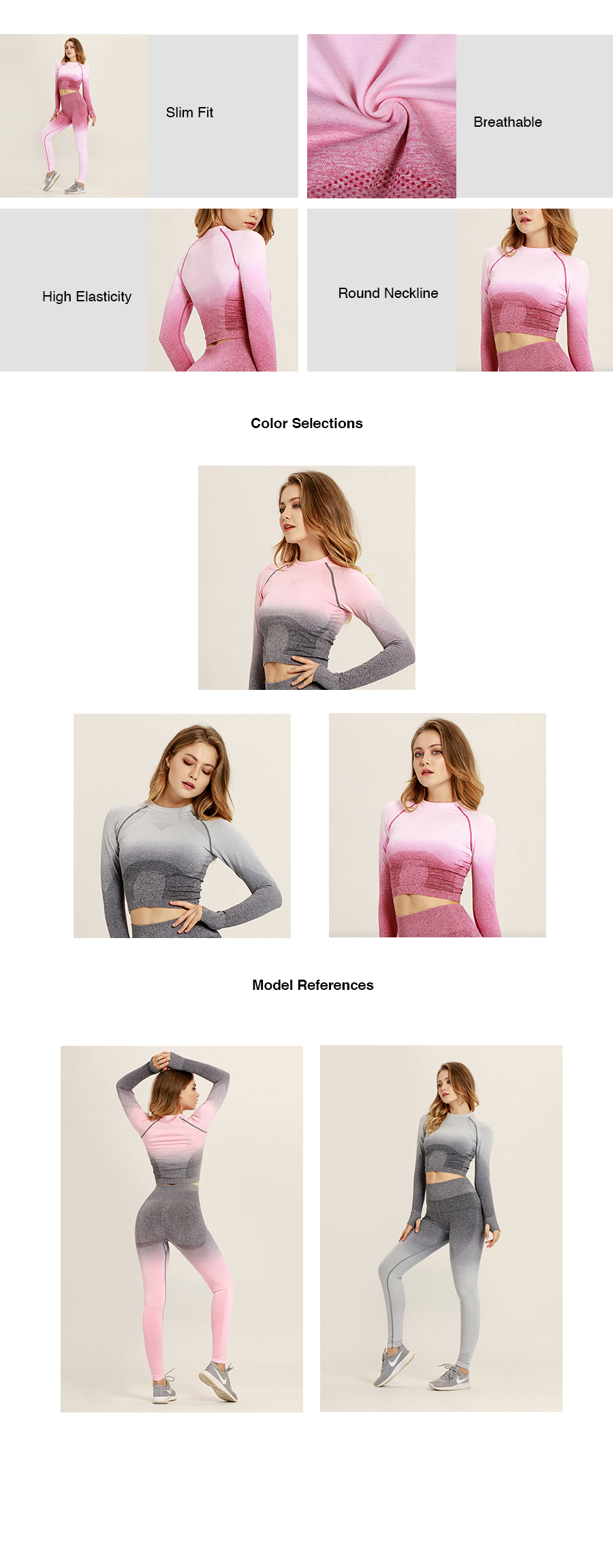 Ombre Long Sleeves Crop Top