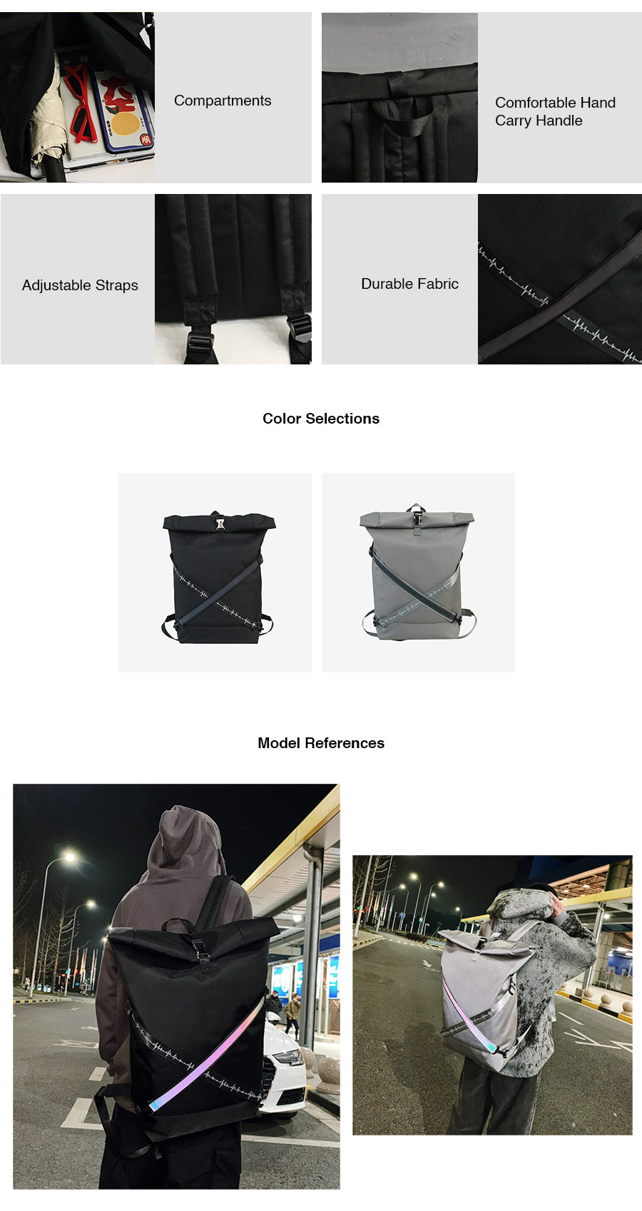 Reflective Big Space Travel Backpack