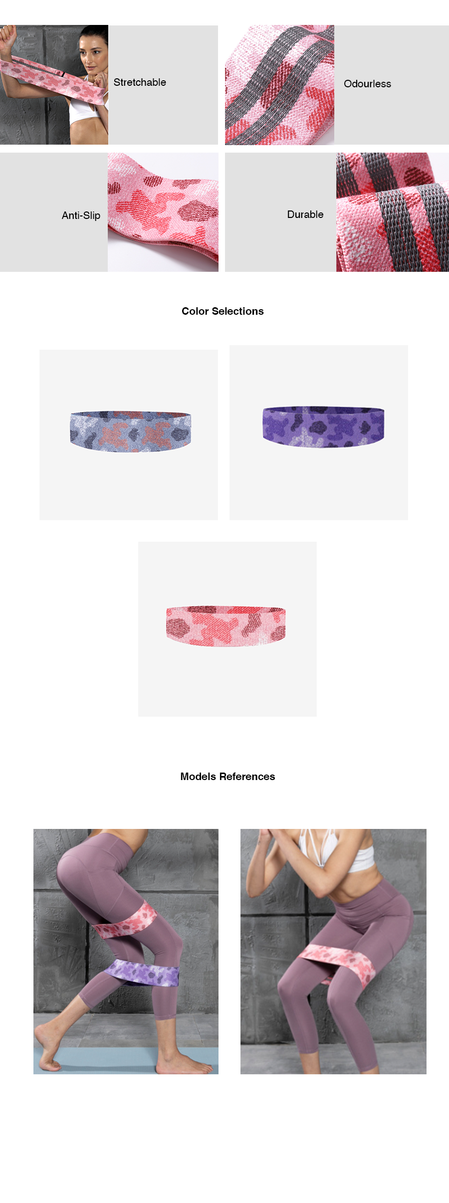 Camouflage Non-Rubber Resistance Band