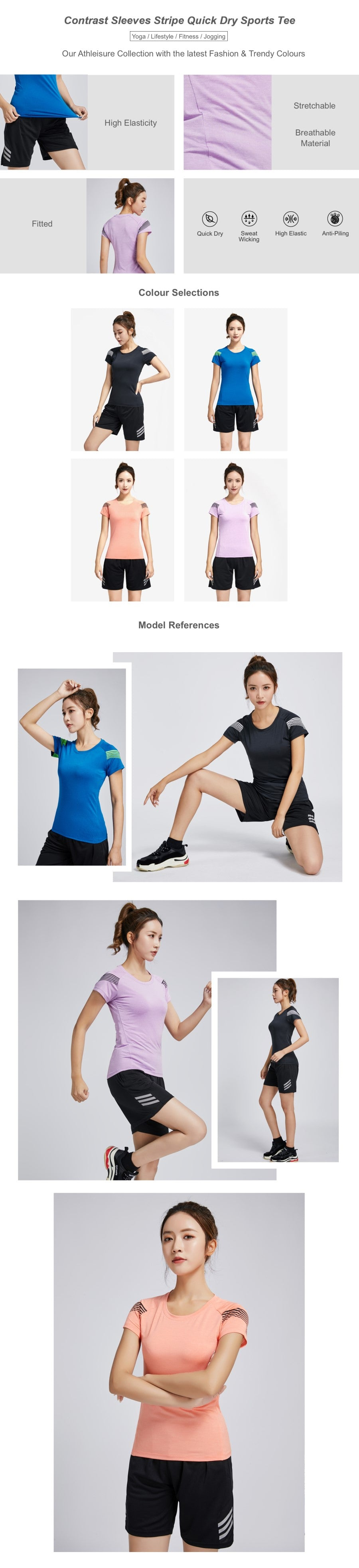 Contrast Sleeves Stripe Quick Dry Sports Tee