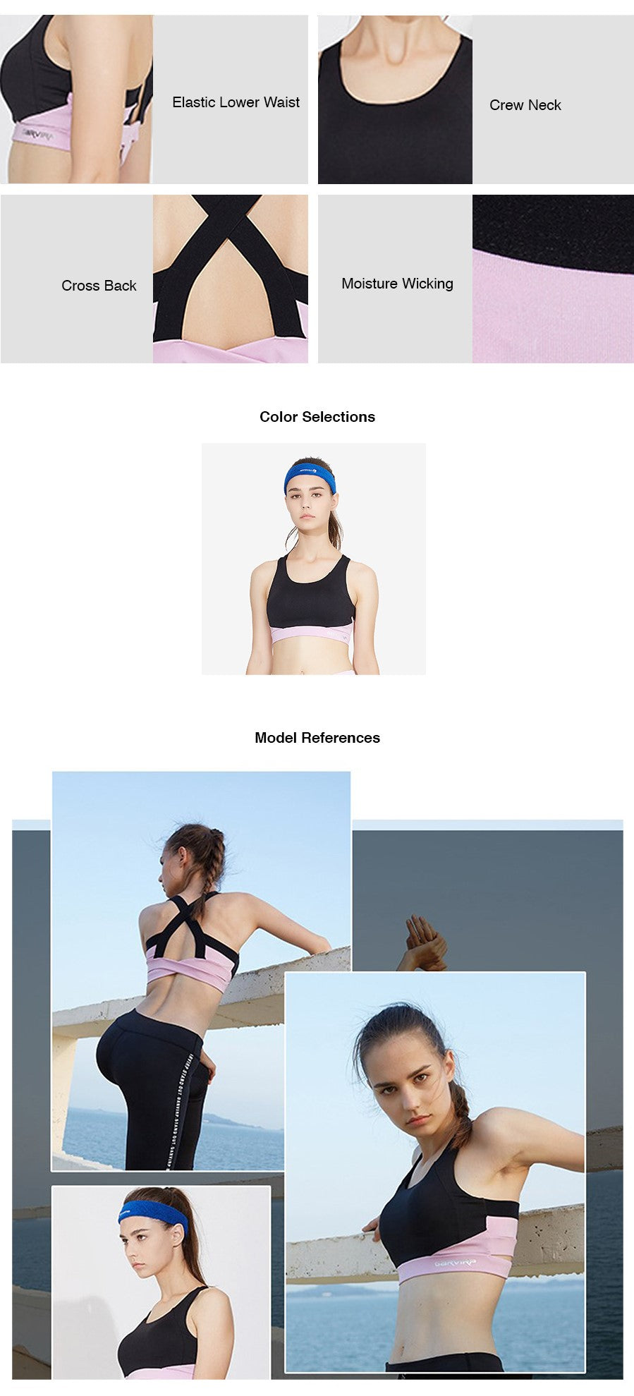 Quick Dry Colour Contrast Sports Bra
