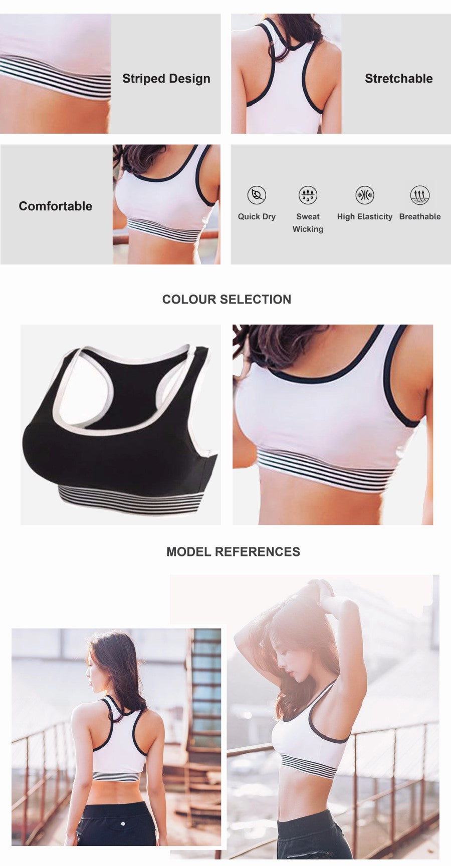 Colour Contrast Running Sports Bra