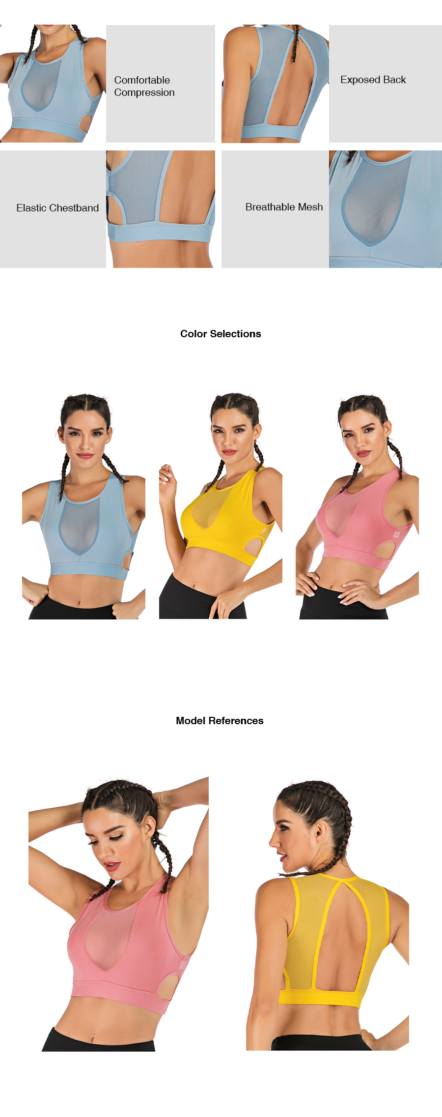 Sexy Front Mesh Active Sports Bra