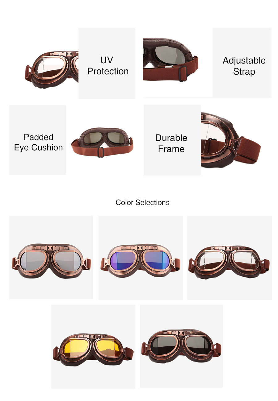 Retro Copper-plated Leather Motorcycles Goggles