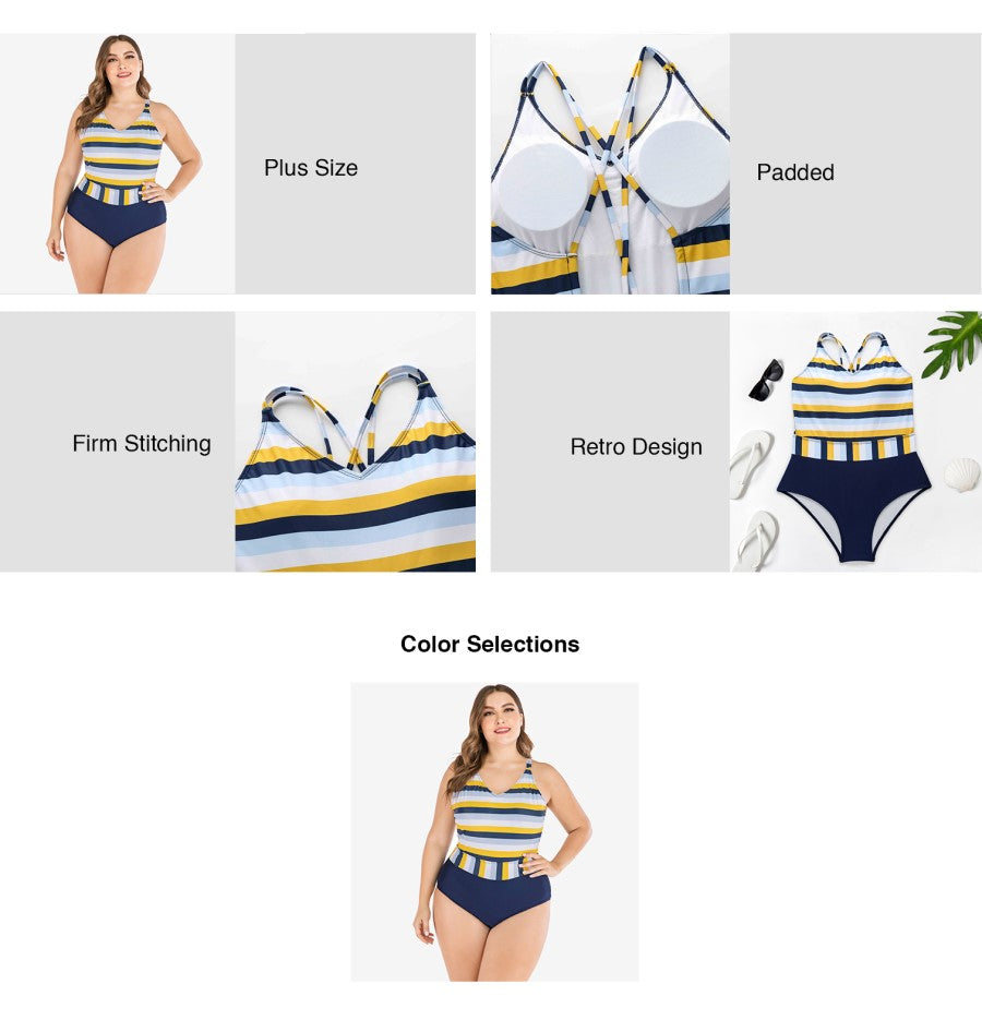 Plus Size Retro Design One-piece Swim Suit